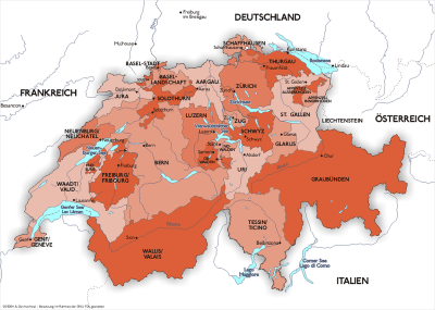 Map of Switzerland with its 26 Cantons and the neighboring countries