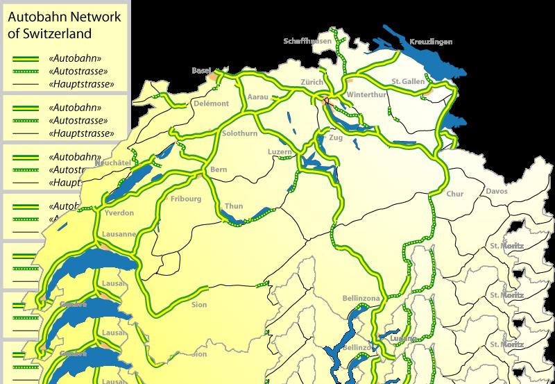 Map showing Switzerland's Highways